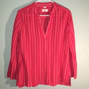 """Loft Red """"The Softened Shirt"""" with bell sleeves"""